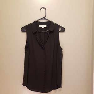 Ann Taylor LOFT Black Sleeveless Button Blouse S